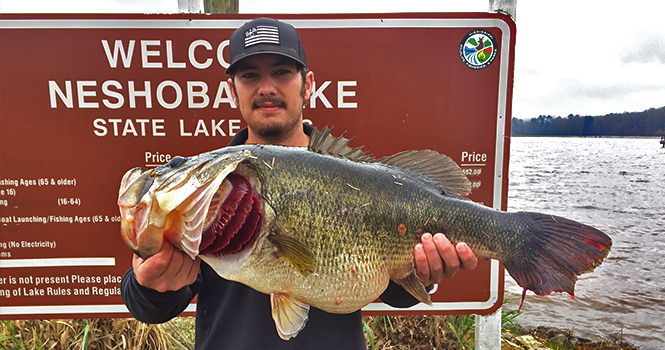 Mississippi lake record largemouth bass caught 14 3 for Lake meredith fishing report